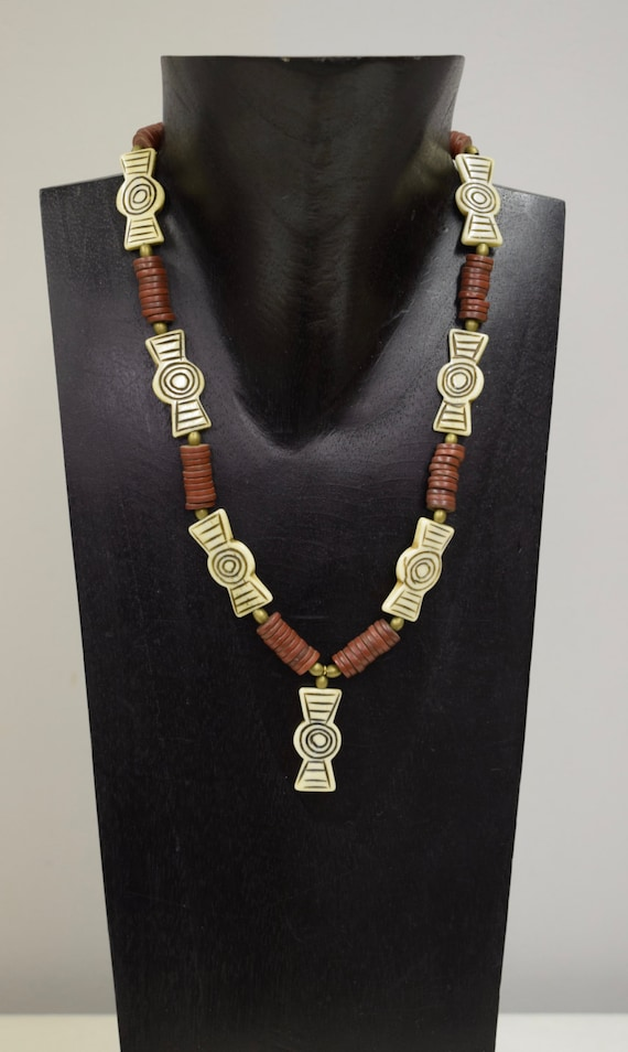 Necklace Vintage Rust African Glass Discs brass White Flat Beads Handmade Etched White and Rust Glass Beads Necklace Jewel  One of a Kind E