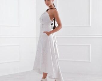 Summer Dress/ White Dress/ Linen Dress/ Open Back Dress/ Off Shoulder Dress/ Dress WIth Pockets/ Asymmetrical Dress/ Friends Fashion
