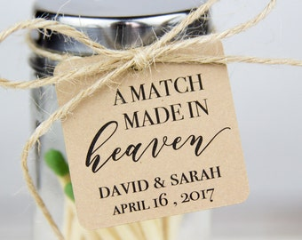 A Match made in heaven - Wedding Favor Tags - Match Favor Tags - Wedding Favor Ideas - Personalized Tags - Bridal Shower Tags