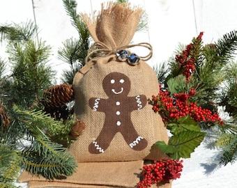 Treat bag, Burlap Bag, Gingerbread gift,  holiday gift bag, holiday treat bag, favor bags
