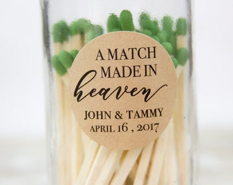 A match made in heaven - Match Wedding Favor Stickers - Match Wedding Favor Labels - Wedding Favor Ideas - 1.25 inch Wedding Stickers