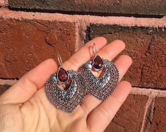 Beautiful Amethyst Sterling Silver Plated Earrings Tribal Boho Festival Healing Crystals Gemstones