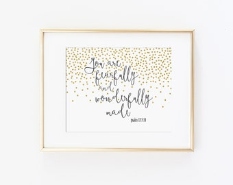 You Are Fearfully and Wonderfully Made Bible Art Quote, Psalm Quote, Nursery Art Print - Glitter Art, Girls Nursery Decor, Modern Nursery