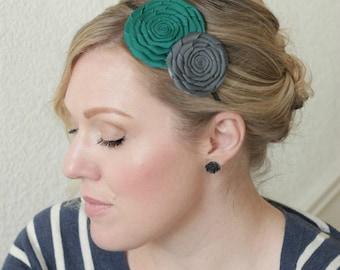 Handmade Flower Headband, Teal Hairband,  Gray Headband for Women