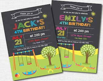 Play Park Birthday Invitation, Play Park Invite, Play ground Invitation, Picnic Invite, Boys, Girls, printable