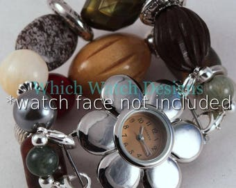 Fall Jumble.. Multi Colored Stone, Wood, and Acrylic Interchangeable Beaded Watch Band
