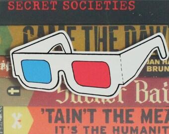 Retro 3D Glasses Vinyl Cutout Sticker