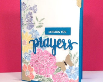 Sending Prayers Card - Hand Made Greeting Card with Hand Stamped and Colored Image of Flower Garden