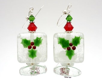 Holly Earrings, Christmas Earrings, Holiday Earrings, Winter Earrings, Lampwork Earrings, Glass Bead Earrings, Red and Green Earrings