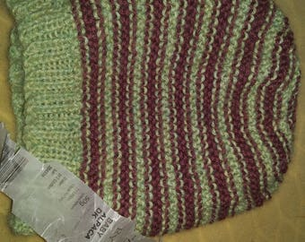 New Hand Knitted Striped Ladies Hat in Baby Alpaca Plum and Green