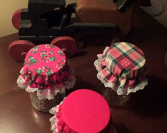 Package of 3 Christmas Fabric Canning Jar Bonnets