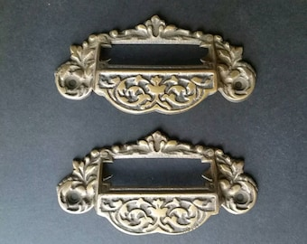 """2 vintage antique brass Victorian Apothecary Bin Pull Handles with label holder slot 4 3/4"""" wide #A7"""