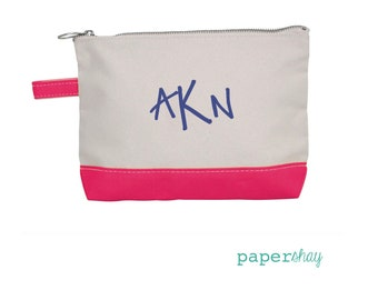 Monogram Make Up Bag - Monogrammed Makeup Canvas Bag - Monogrammed Make Up Bag - Personalized Travel Bag -Monogram Bridesmaids Gift, PINK