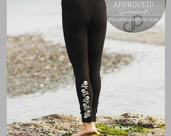Performance Leggings with Skulls, Opaque legging, workout, WOD, Squat, Yoga, Barre, Crossfit,