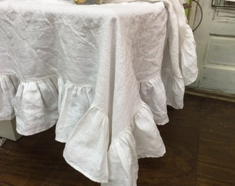 Washed Linen Ruffled Tablecloth Custom Square Ruffled Washed Linen  Tablecloth Bright White Vintage