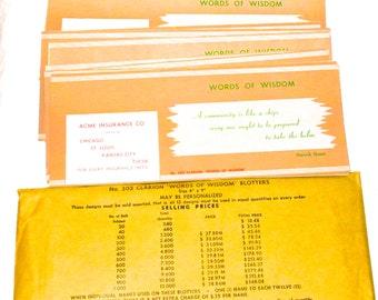 Vintage Blotter Paper sample kit advertising Words of Wisdom collage supplies