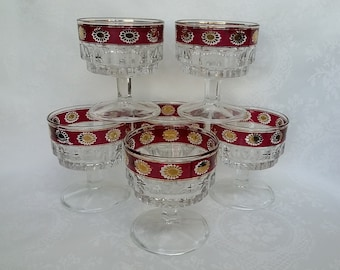 Retro Italy Pedestal Bowls, Set of 6 Ruby Red and Gold Trim Punch Bowls, Luxury Style Dessert Cups Sundae Cups, Compote Bowls,Made in Italy