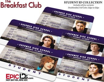 The Breakfast Club Inspired Student ID Collection (Set of 5)