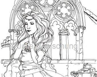 romantic woman with gothic arch digital stamp/coloring page