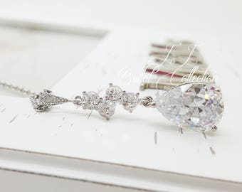 Luxury Cluster Teardrop Crystal Necklace, Bridesmaid Necklace gifts