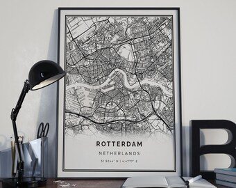 Rotterdam map poster print wall art | Netherlands gift printable download | Modern map decor for office, home and nursery | MP564