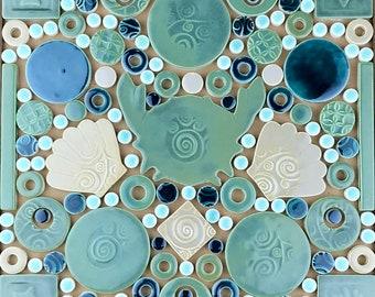 "Crab & Shells (Tidal Pool Green), Handmade Ceramic Tile Mosaic, Ready to Install 12""x12"""