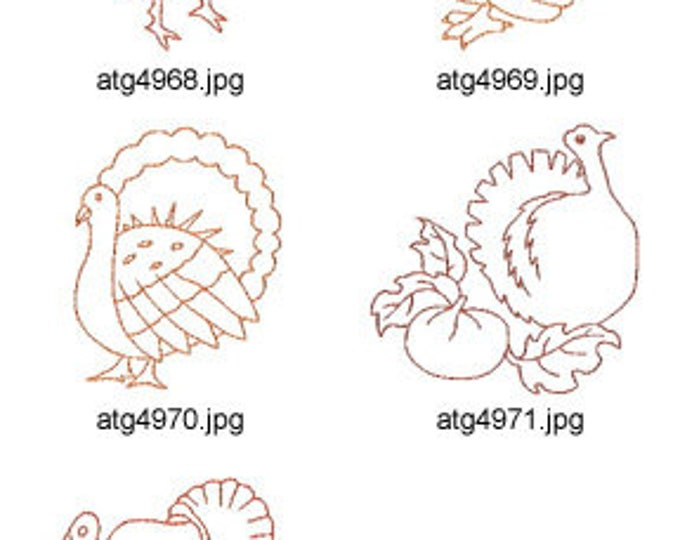 Thanksgiving Turkeys ( 5 Machine Embroidery Designs from ATW ) XYZ17I