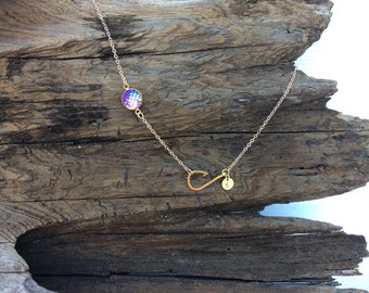 Gold Fish Hook Necklace with Initial and Mermaid Scale, Personalized Necklace with Fishing Hook Charm, Religious Jewelry, Fishing Jewelry