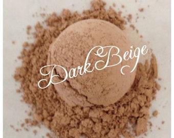 DARK BEIGE Foundation Organic Minerals Vegan All Natural Gluten Free W/ Jojoba oil, Vitamin E, Green tea