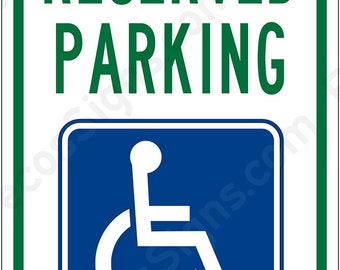 "Handicapped Parking Reserved 12""x8"" Aluminum Sign Made in the USA by US Vets"