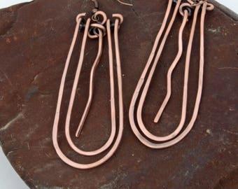 Copper dangle earrings, antiqued copper earrings, handmade jewelry