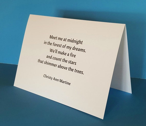 Greeting Cards - Romantic Card - Meet Me at Midnight In the Forest of My Dreams - Poem by Christy Ann Martine