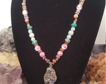 Cosmic Love Aura Quartz Crystal Necklace
