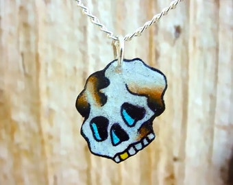 little mini traditional vintage tattoo style skull necklace