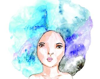 Girl with Galaxy Hair, Art Print, Wall Art, Home Decor, Gift Idea, Galaxy Art, Space, Quirky Art, Watercolour Portrait