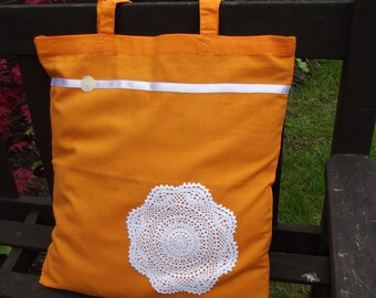 Vintage Lace covered Tote Bag - useful reusable shopping bag - Brighton - Orange and cream Mandala Circle