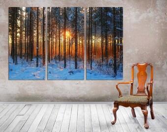"3 Panel Split, wall art, Canvas Print, Winter Snow Sunset,  wall decor, Home Office Lobby Decor interior  Included framed 1.5""depth"