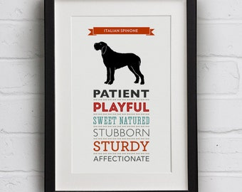 Italian Spinone Dog Breed Traits Print - Great Gift for Italian Spinone Lovers