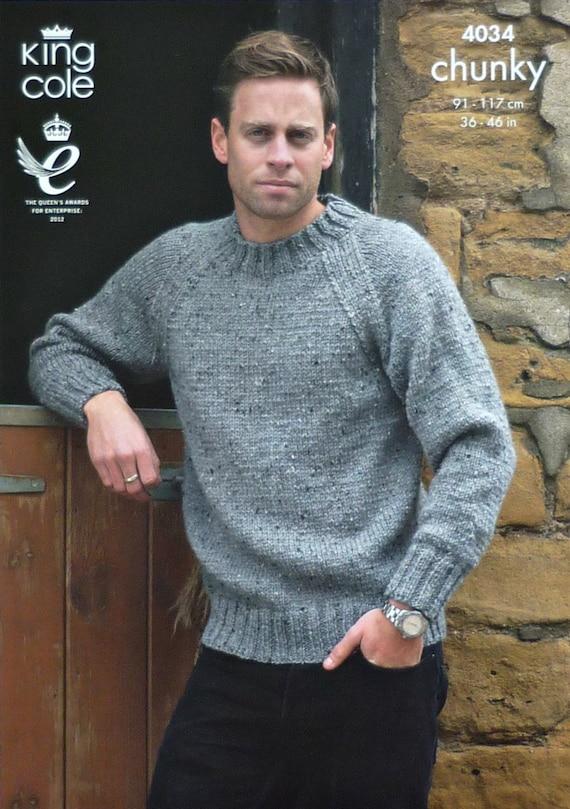 Mens Knitting Pattern K4034 Mens Long Sleeve Jumper Easy Knit