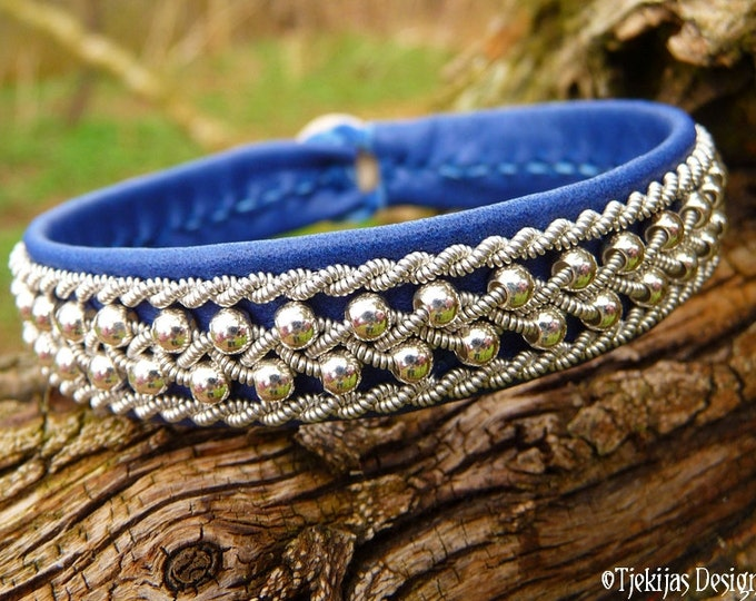 Sami Reindeer Bracelet, ROSKVA Swedish Blue Leather Viking Silver Cuff Authentic Sami Craft