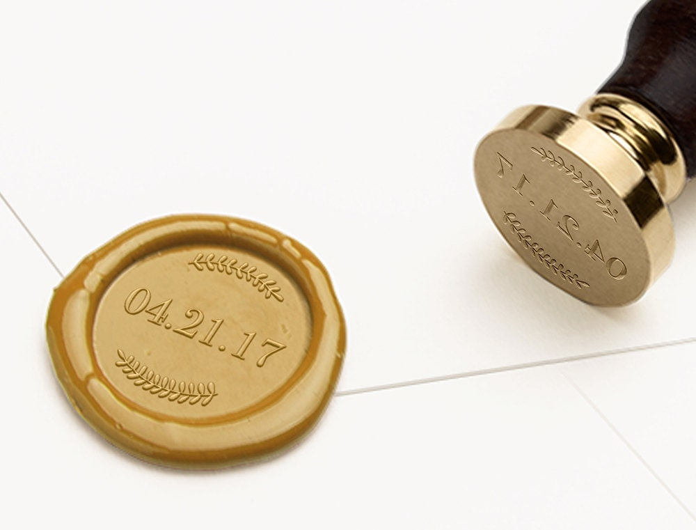 Date Wax Seal Stamp, Save the Date Wax Stamp, Wedding Wax Seal ...