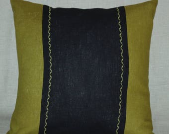 """Decorative throw olive green linen pillow case washed natural linen cushion cover 20"""" x 20"""""""