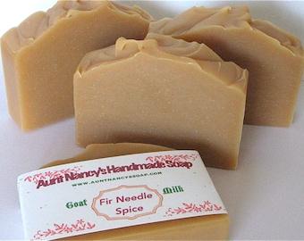 Le sapin aiguille Spice savon artisanal - parfum unisexe - chèvre maison naturel savon au lait parfumée aux huiles essentielles - Fir Needle, clou de girofle, cannelle