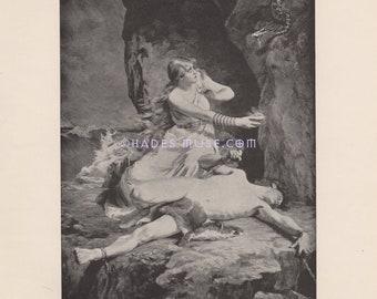 Serpent-Poison-Eternity-Norse Mythology-LOVE-1891 Antique Vintage Art Print Picture-Loki & Sigyn-Snake Venom-God-Faithful Wife-Viking-Punish
