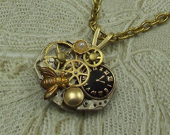 Steampunk Watch Necklace, Watch Face, Insect, Small Silver Wrist Watch Plate, Oval
