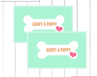 """Mint Puppy Birthday Party """"Adopt a Puppy"""" Favor tags for Boxes  - Printable Digital Design"""