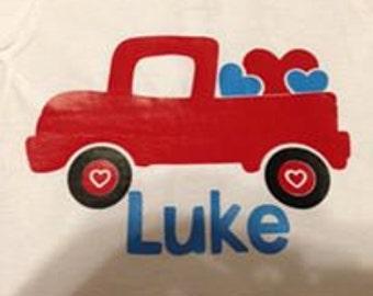 Truck Valentines Day Shirt, Boys Valentines Day Shirt, Valentine's Day, Custom Valentines Day Shirt