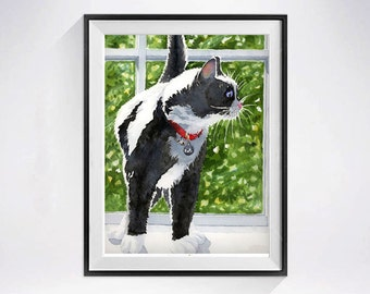 Black cat painting, Tuxedo Cat Art, Watercolor Print, kitten, Black and white  kitty watercolour kitty, Cat artwork, Funny wall art