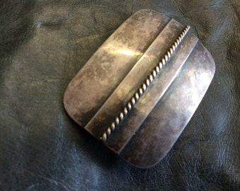 Silver 900 Arts and Crafts Pin hand hammered