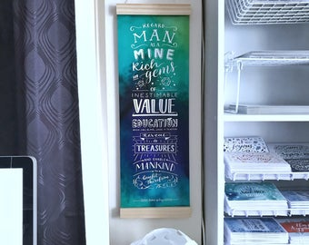 Regard man as a mine - Education Quote - Teacher Gift - Wall Art - Bahai Art - Hand Lettering - Wooden Hanger Print